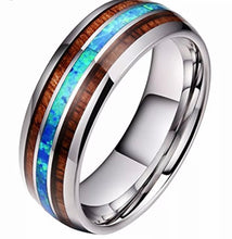 Load image into Gallery viewer, Men's Thin Blue Line Wood Inlay Titanium Steel 8 mm Ring