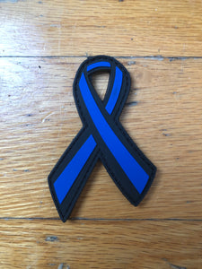 "PVC 3"" Thin Blue Line Awareness Ribbon (Velcro backed)"