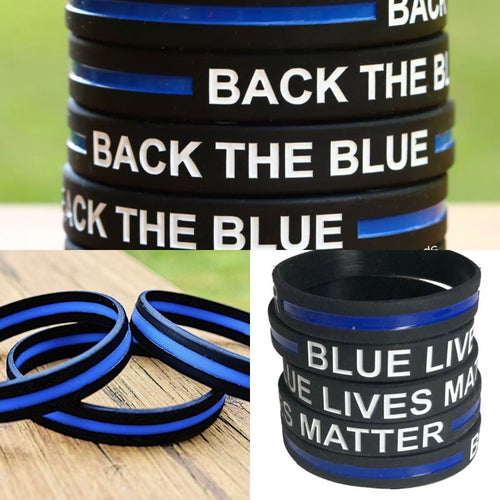 Thin Blue Line Silicone Back The Blue, Blue Lives Matter, Thin Blue Line Wristband / Bracelet