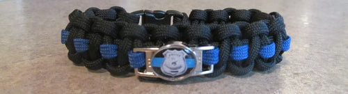 Thin Blue Line Shield Paracord Survival Bracelet with Badge Charm