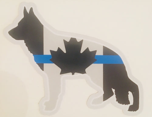 German Shepherd Thin Blue Line Canada Flag K9 Police Dog Sticker Decal