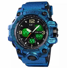 Load image into Gallery viewer, Thin Blue Line Inspired Military Blue Camo Watch LED Quartz, Digtial Dual Time 50m Waterproof