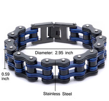 Load image into Gallery viewer, Thin Blue Line Men's Stainless Steel Biker Link Chain Wristband Motorcycle Bangle 8.5 inch