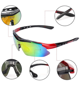Thin Red Line inspired Polarized Sunglasses - Semi-Rimless Style, 5 Interchangeable Lens