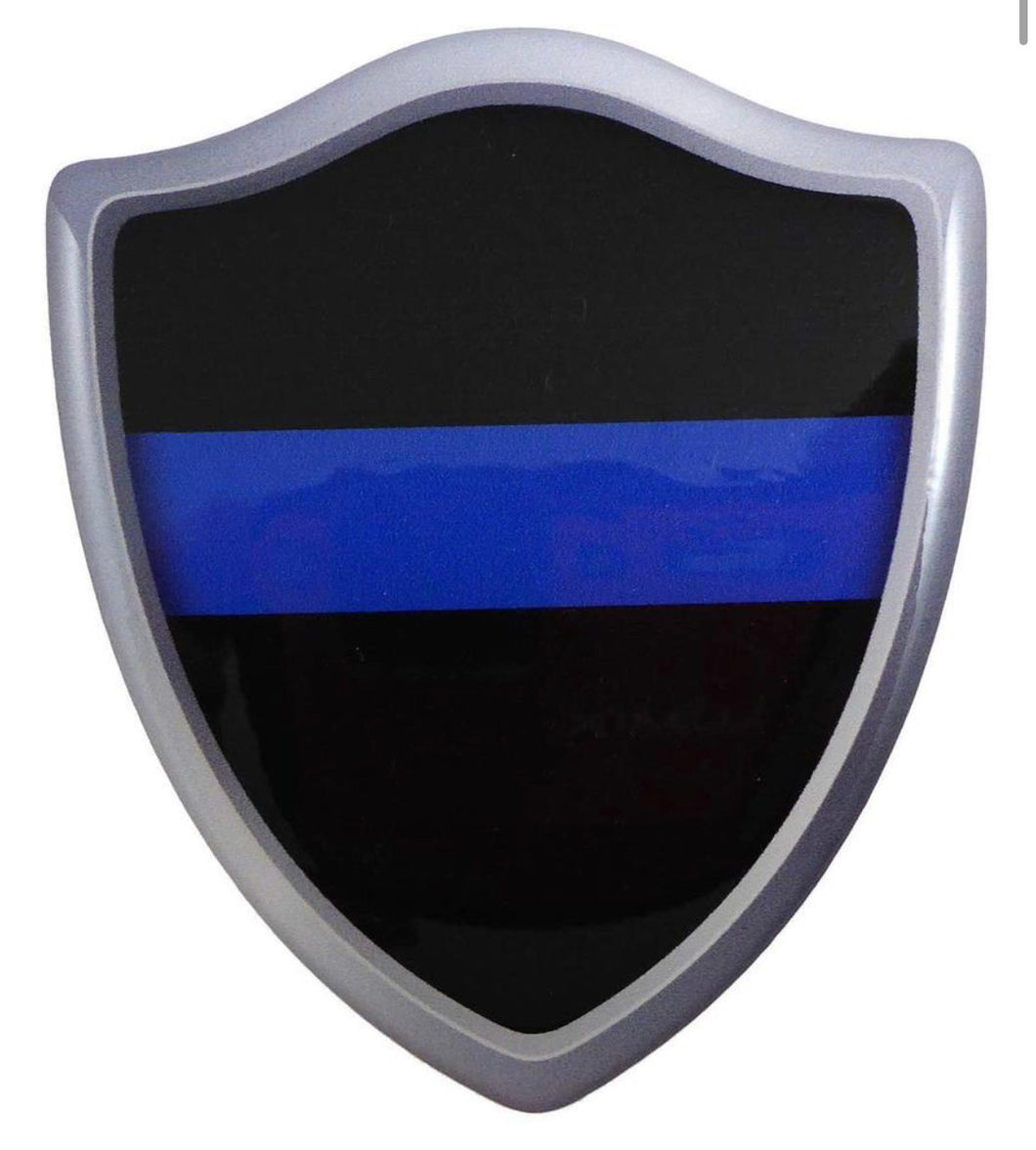 "3"" x 2.6"" Thin Blue Line Shield Crest Domed Decal 3D Look Emblem"