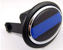"Load image into Gallery viewer, Thin Blue line Police Flag Hitch Cover Cap 2"" receiver black with chrome & dome"