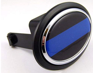 "Thin Blue line Police Flag Hitch Cover Cap 2"" receiver black with chrome & dome"