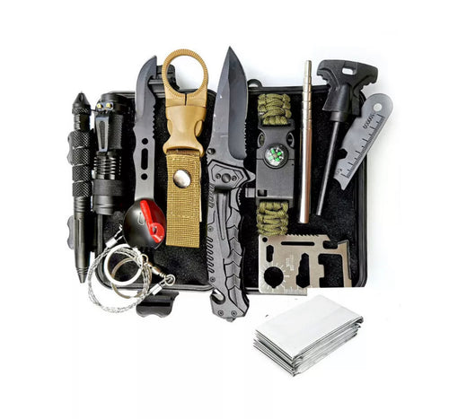 11-in-1 Tactical Survival Kit with choice of FREE gift valued at $24.99 (Pocket Knife or Phone Cup Holder)