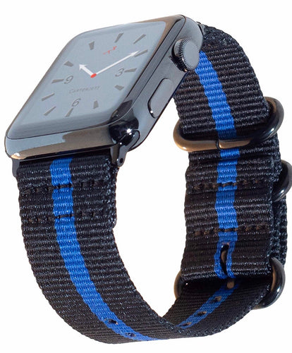 Thin Blue Line Nylon Compatible Apple Watch Band (2 sizes) by Carterjett