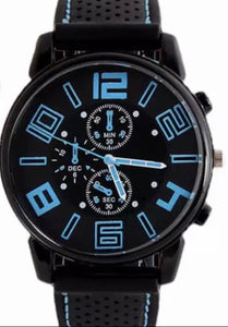 Thin Blue Line Inspired Large Numbers Watch