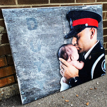 Load image into Gallery viewer, Custom Thin Blue Line Canvas with 3D Portrait or Emblem (Free Shipping)