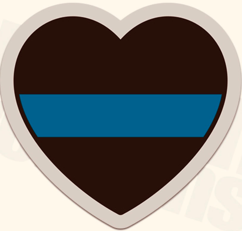 Thin Blue Line Heart - Decal Sticker