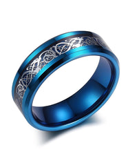 Load image into Gallery viewer, Thin Blue Line 8mm Tungsten Ring Dragon Blue Beveled Edge Size 6-14