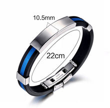 Load image into Gallery viewer, Thin Blue Line Stainless Steel Silicone Bracelet