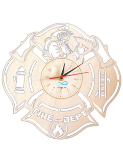 Wooden Firefighter Wall Clock