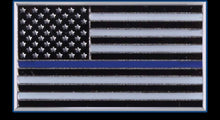 Load image into Gallery viewer, Metal Thin Blue Line American Flag Lapel Pin