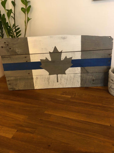 Thin Blue Line Canada Flag made from One of a kind distressed / reclaimed wood