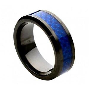 Thin Blue Line 8mm Round Edge Ceramic COMFORT-FIT RING (Size 5 to 15)