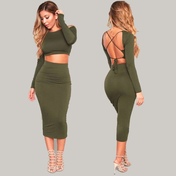Two Piece Set Bodycon Dress - Cargobayy