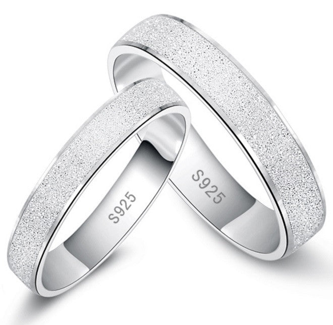 White Gold Frosting Surface Couple Rings - Cargobayy