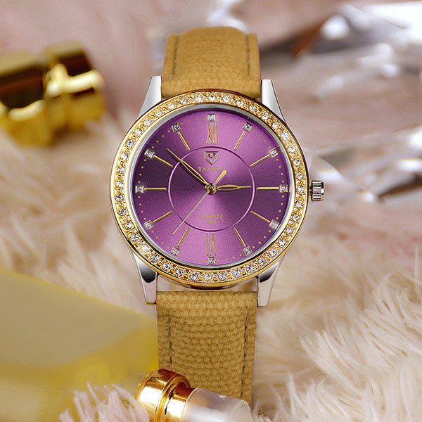 Gold Diamond Quartz Watch
