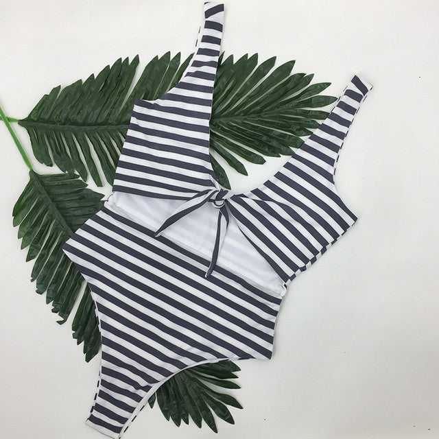 Hand knitting Patchwork Stripe Bikini