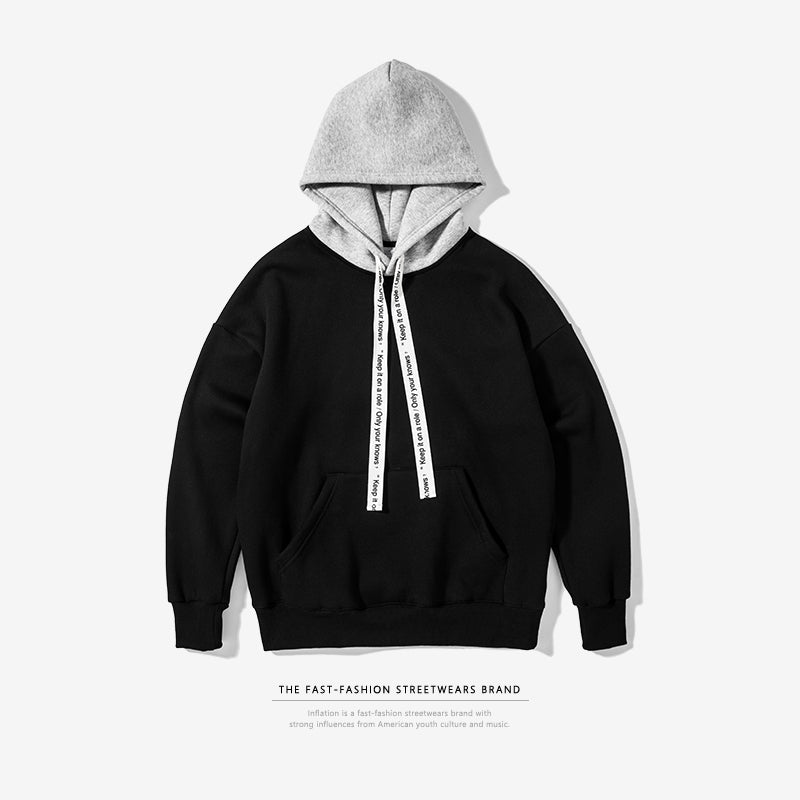 Contrast Color Drop-shoulder Hoodies
