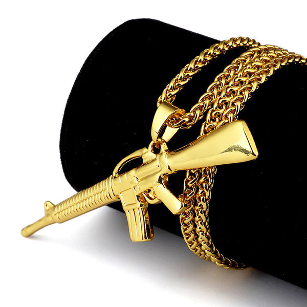 M4 Gold Plated Gun Chain - Cargobayy