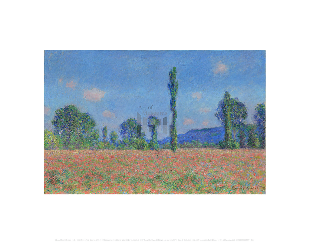 Poppy Field, Giverny, Claude Monet