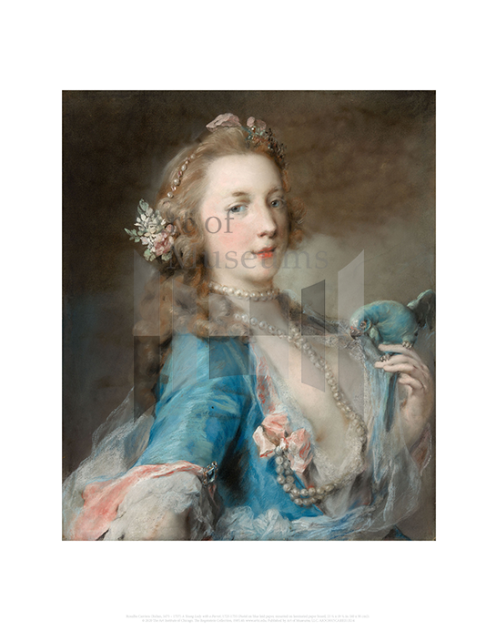 A Young Lady with a Parrot, Rosalba Carriera