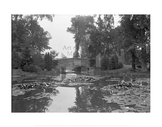 Pond and bridge, Elizabeth Park, Hartford and West Hartford, City of Hartford Connecticut