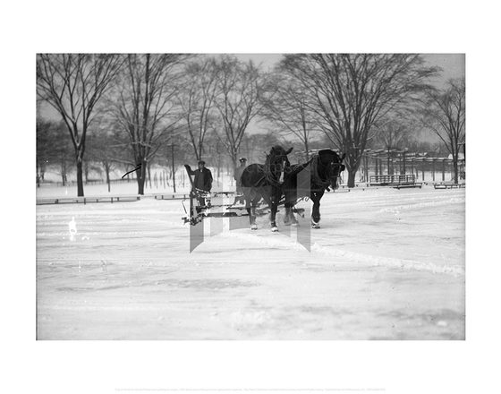 Hartford horse team pulling ice scraper, City of Hartford Connecticut
