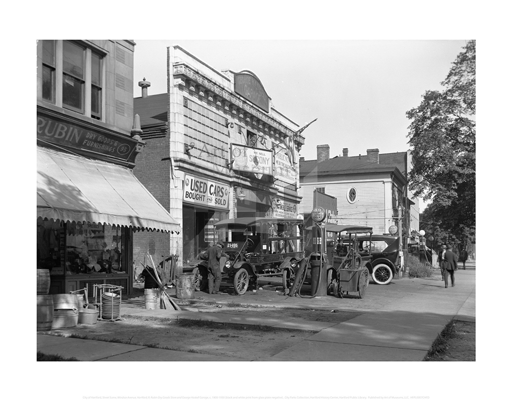 Street Scene, Windsor Avenue, Hartford, R. Rubin Dry Goods Store and George Haskell Garage, City of Hartford Connecticut
