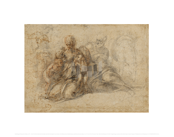 The Holy Family with the Infant Saint John the Baptist (recto), Michelangelo Buonarroti