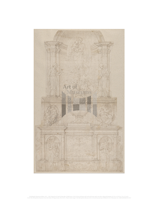 Design for the Tomb of Pope Julius II della Rovere, Michelangelo Buonarroti