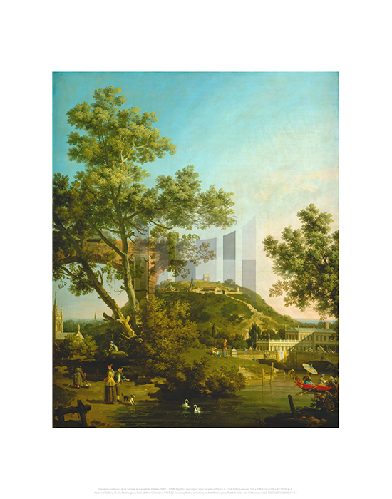 English Landscape Capriccio with a Palace, Giovanni Antonio Canal, known as Canaletto