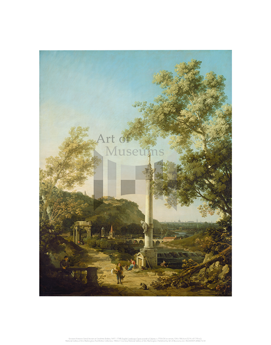 English Landscape Capriccio with a Column, Giovanni Antonio Canal, known as Canaletto