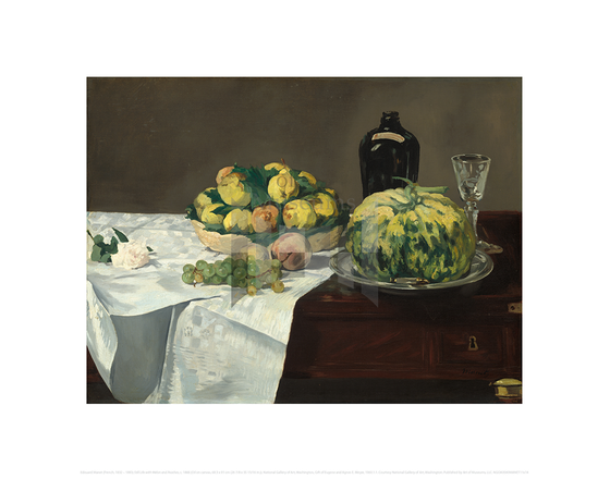 Still Life with Melon and Peaches, Edouard Manet