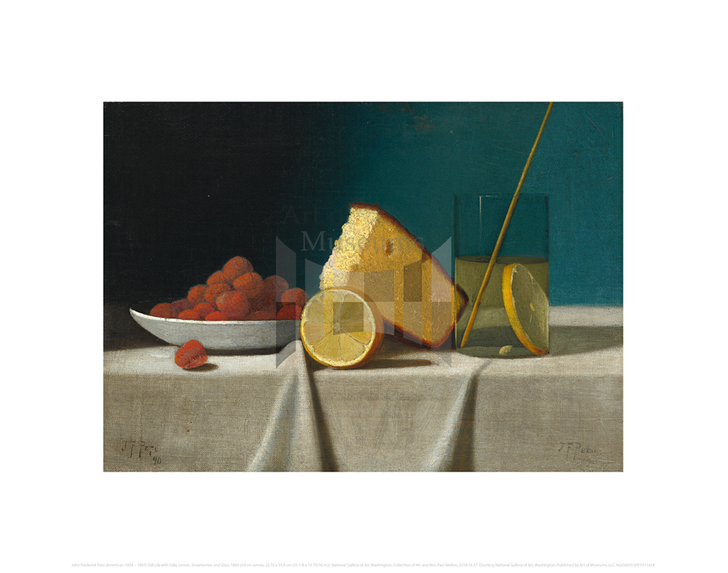 Still Life with Cake, Lemon, Strawberries, and Glass,, John Frederick Peto