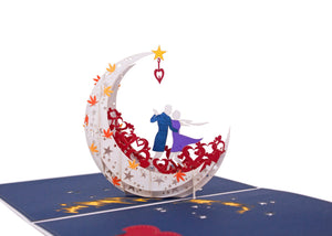 AITpop Moon boat (White) pop up card - AitPop