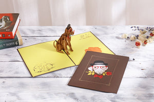 AITPOP Dog(Rose) brown cover pop up card - AitPop