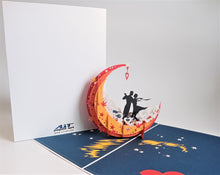 Load image into Gallery viewer, AiT paper art     Moon boat (Red) pop up card (10pcs )
