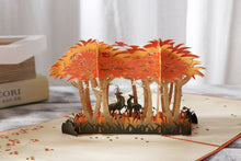 Load image into Gallery viewer, AITpop Deers in Autumn Forest pop up card - AitPop