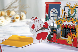 AITpop Fireplace with Santa pop up card (Red cover) - AitPop