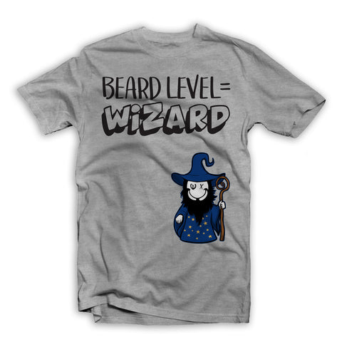 Beard Level Wizard T-Shirt Grey
