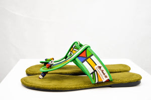 Ndebele Green Sandals