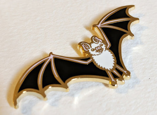 Bat Enamel Pin Angled View
