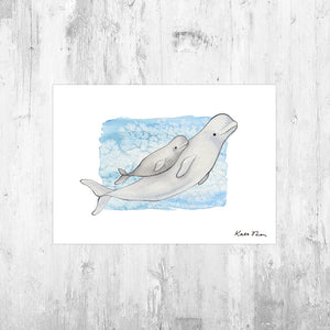 Beluga with Baby Art Print