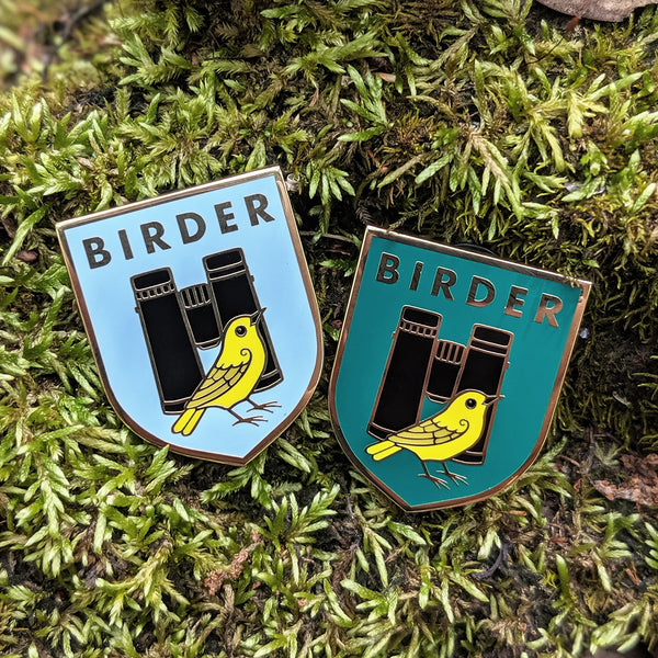 Birder Badge Enamel Pin - Dark Green and Light Blue