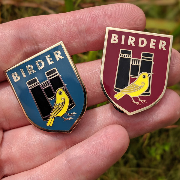 Birder Badge Enamel Pin - Dark Teal and Burgundy